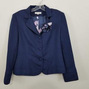 Amanda Smith Silk Navy Blue Blazer w Purple Lining